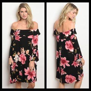 🆕 Black Floral Off-The-Shoulder Dress